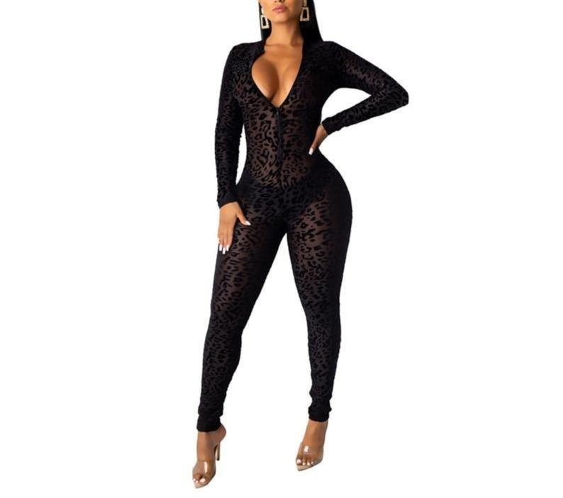 Women's Sexy Black V-Neck Long Sleeve Bodysuit - Flexin' Swag