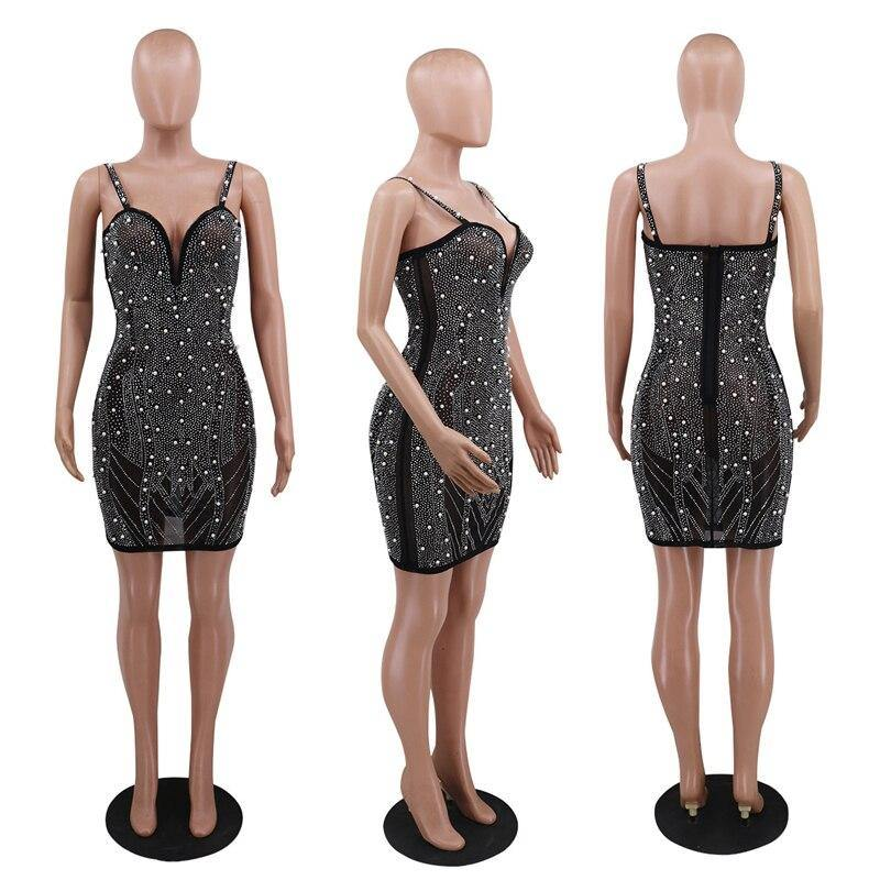 Pearls & Diamonds Sheer Mesh Party Dress - Flexin' Swag