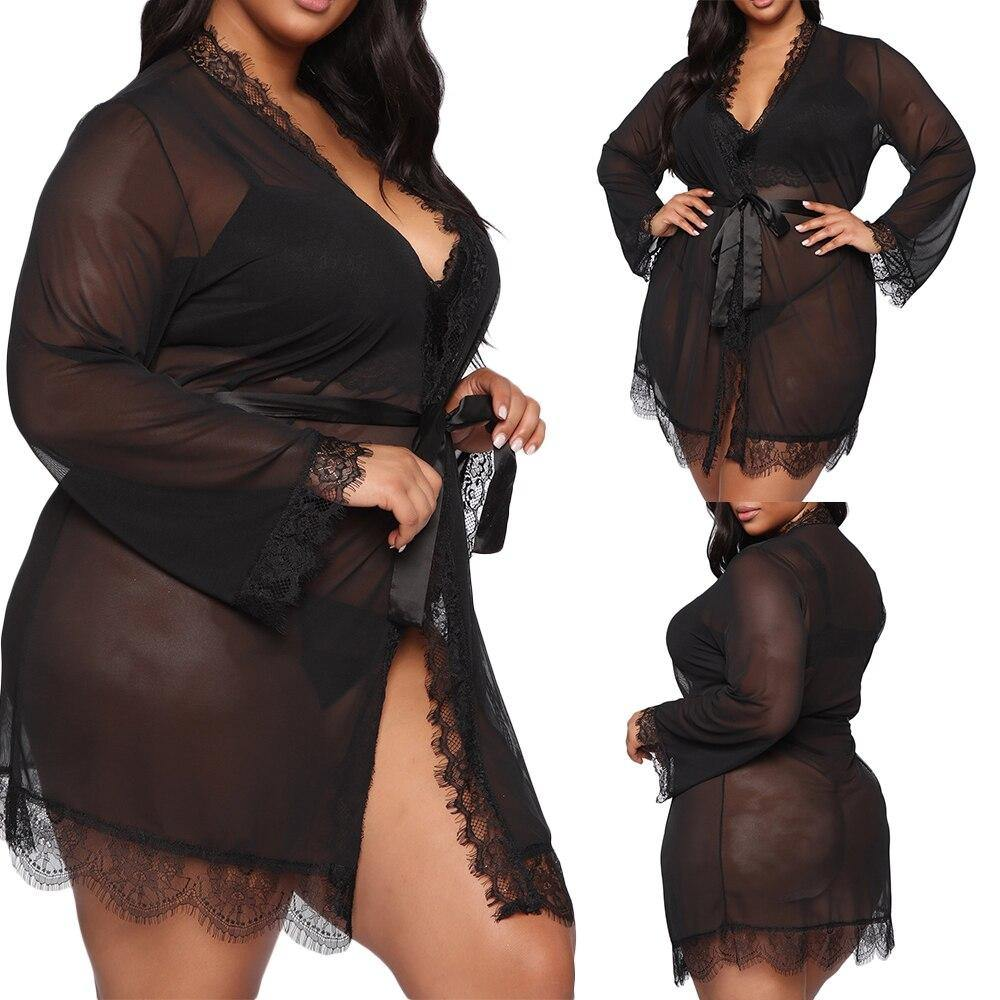 Tessa Plus Size Mesh Lace Lingerie Set - Flexin' Swag