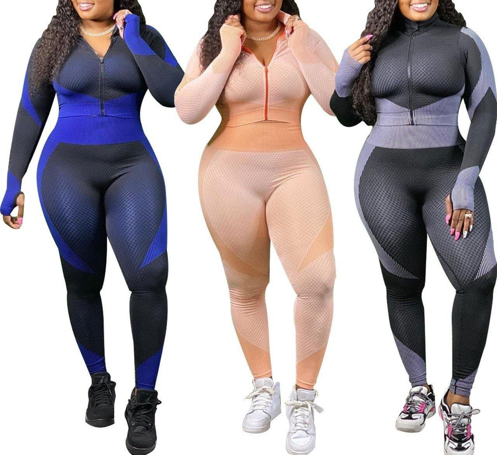 Plus Size Long Sleeve Two-Piece Fitness Set - Flexin' Swag