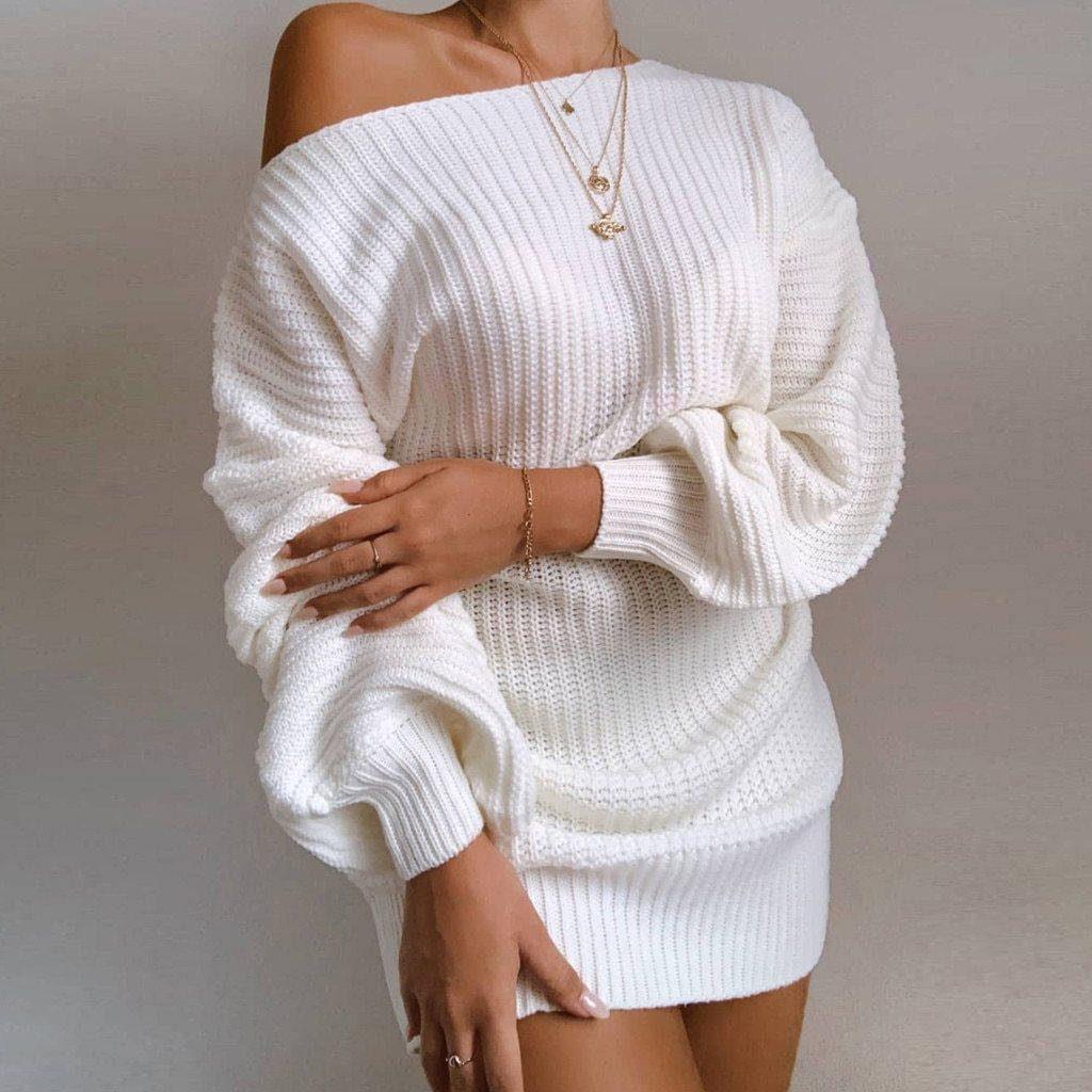 Lantern Sleeve Off Shoulder Sweater Dress - Flexin' Swag