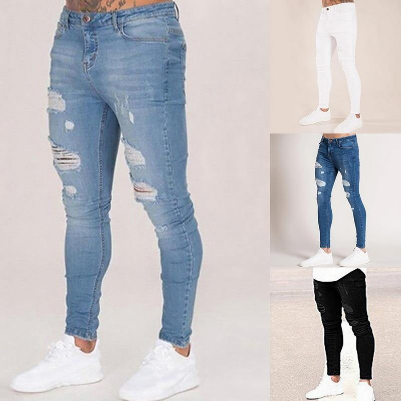 Liam Slim Fit Streetwear Ripped Jeans - Flexin' Swag