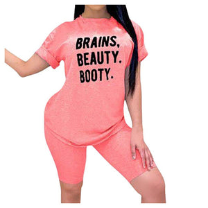 Women's Casual Print Brains Beauty Booty Two Piece Set - Flexin' Swag