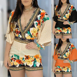 Bohemian Backless Shorts Floral Print Romper
