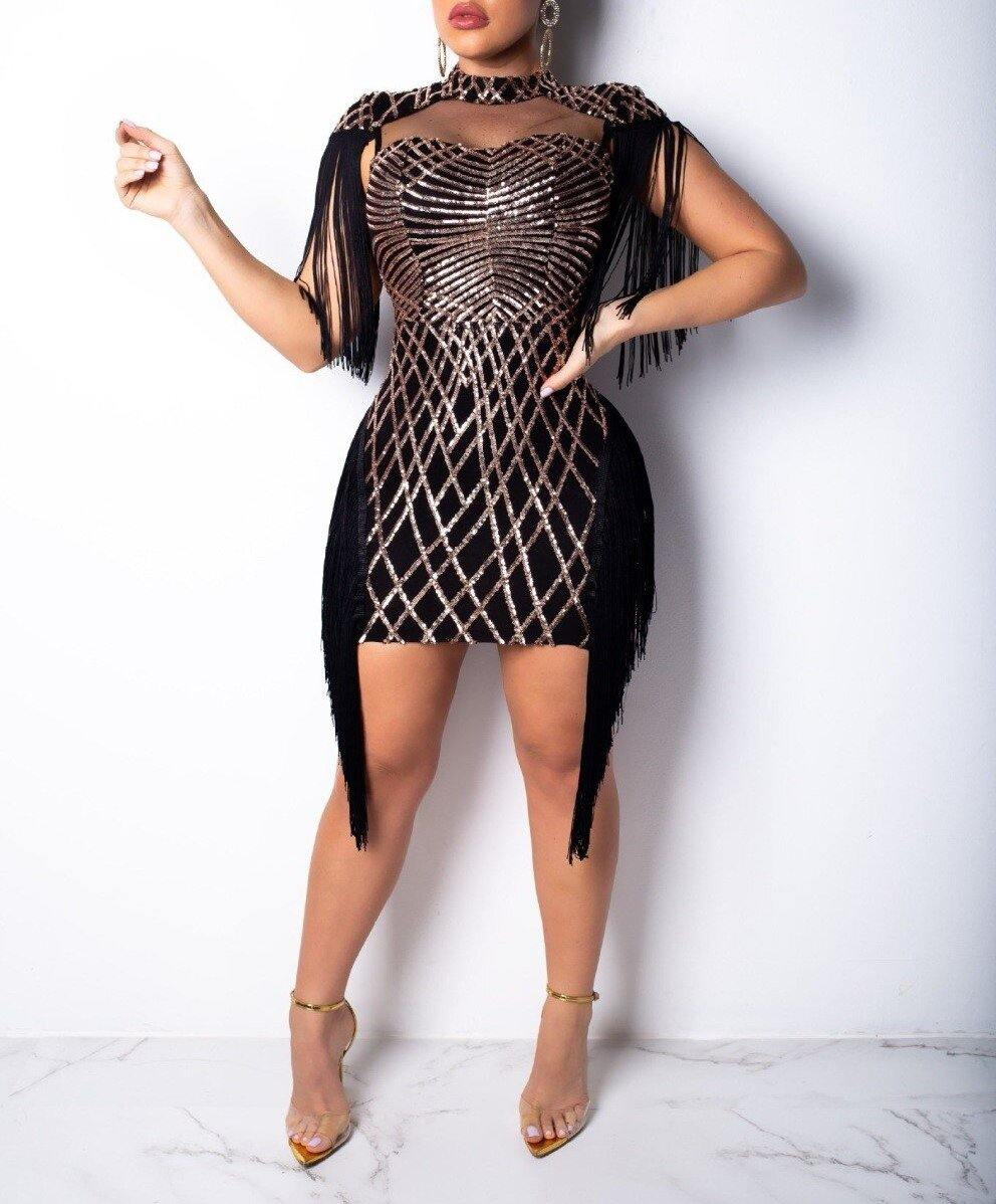 Sequined Geometric Tassel Mesh Mini Dress Elegant - Flexin' Swag