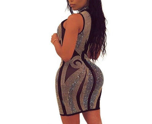 Fashion Diamonds Black Mesh Perspective Mini Dress - Flexin' Swag