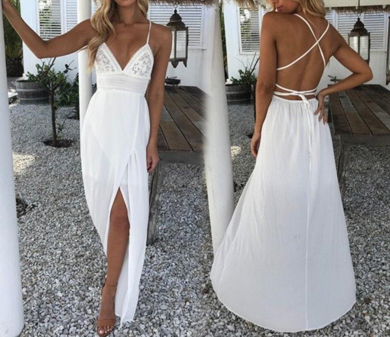 White Boho Spaghetti Strap Maxi Dress freeshipping - Flexin' Swag