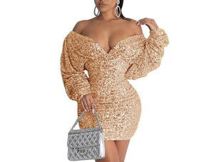 Sexy Sequined V-neck Bodycon Dress - Flexin' Swag