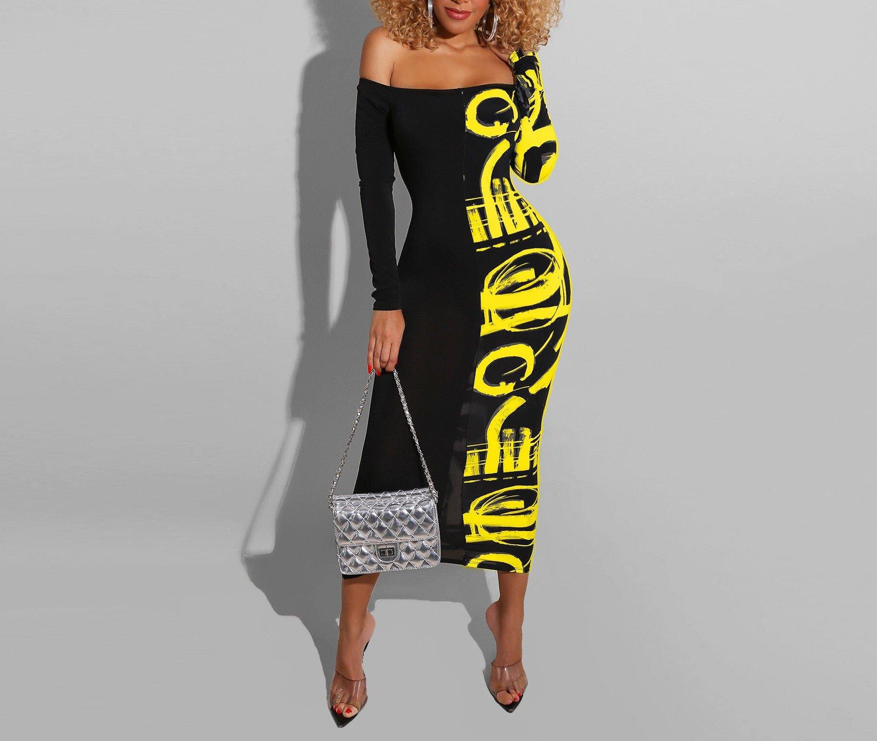 Off Shoulder Fashion Letter Print Maxi Dress - Flexin' Swag