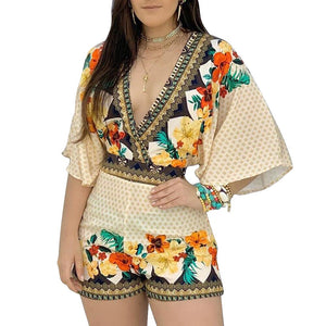 Bohemian Backless Shorts Floral Print Romper freeshipping - Flexin' Swag