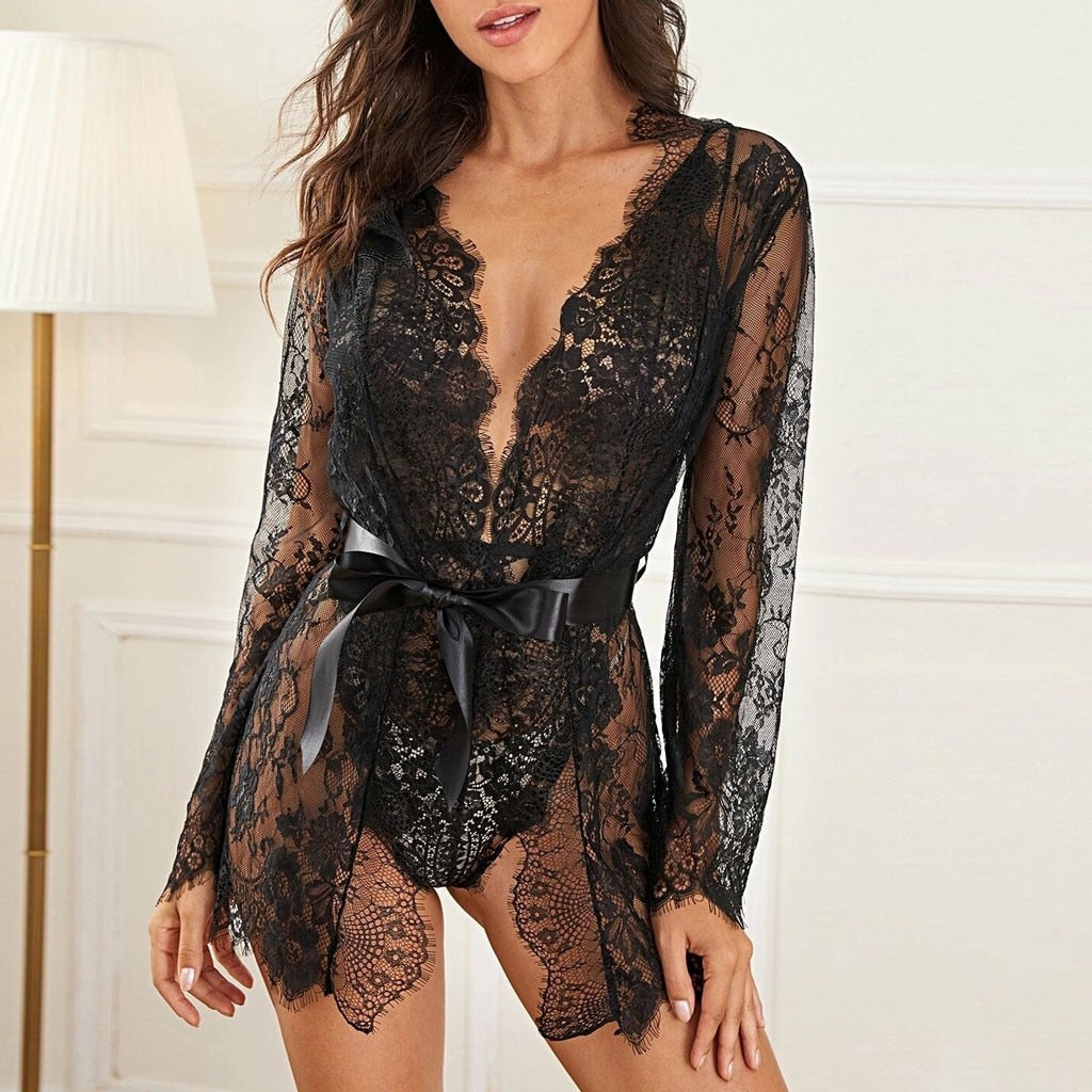 Sonia Black Transparent Lace Nightdress freeshipping - Flexin' Swag
