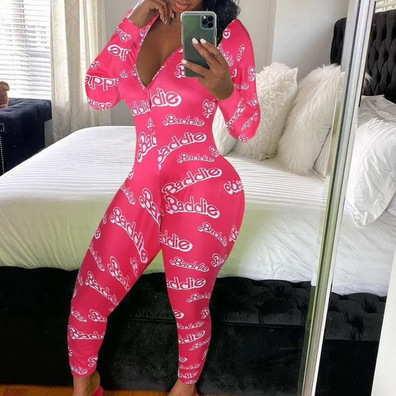 Cassi Colorful Print Long Onesie Pajama - Flexin' Swag