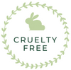 Green circle cruelty free value logo with green bunny