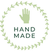 Green circle hand made value logo with green hand