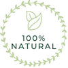 Green circle 100% natural value logo with leaves