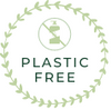 Green circle plastic free value logo with plastic bottle crossed out sign