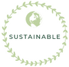 Green circle sustainable value logo with a small green world icon