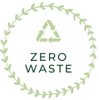 Green circle zero waste value logo with green recycling triangle