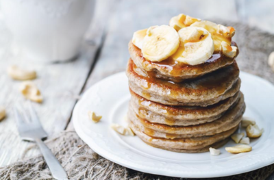 Vegan Banana Walnut Pancakes