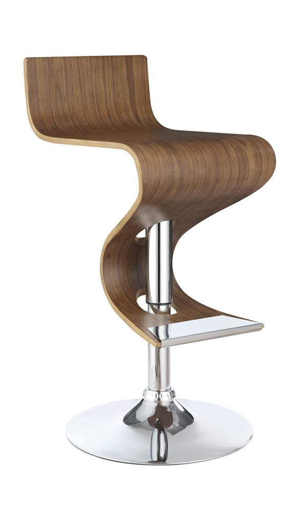 G100396 Contemporary Walnut Adjustable Bar Stool image