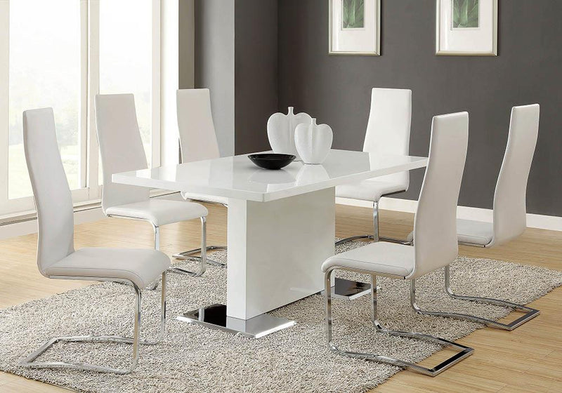 G102310 Contemporary White and Chrome Dining Chair image