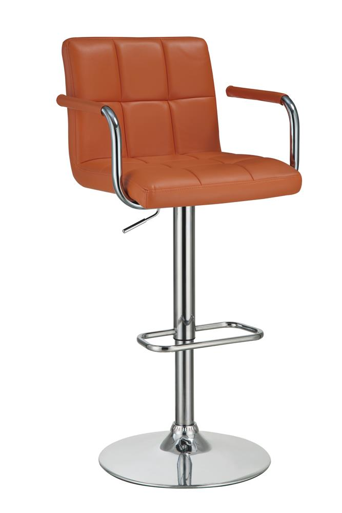 G121098 Contemporary Pumpkin and Chrome Adjustable Bar Stool with Arms image