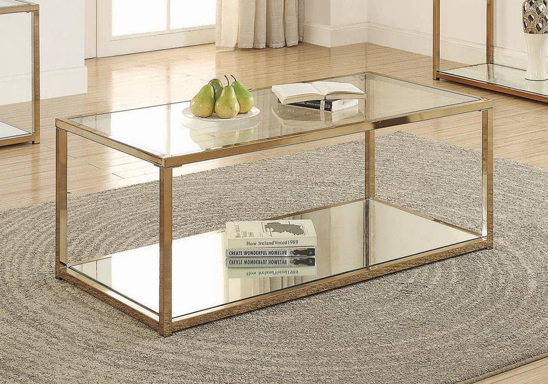 Calantha Modern Chocolate Chrome Coffee Table image