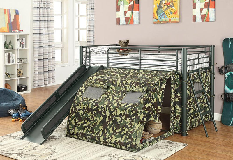 Camouflage Themed Glossy Green Loft Bed image