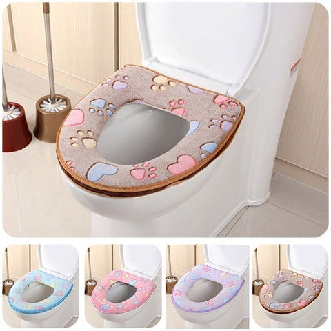 Universal Warm Soft Washable Toilet Seat Cover Mat Set for Home Decoration