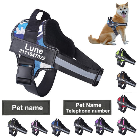 Dog Harness NO PULL Reflective Breathable Adjustable Pet Harness Vest with ID Custom Patch Outdoor Walking Dog Supplies