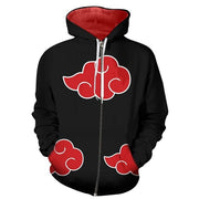 3D Print Anime Naruto Akatsuki Zipper Hooded Hoodies Men - uzamakianime