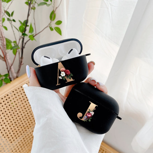 Cute Floral Gold Initial alphabet Letter AirPods Case For Airpod Pro - uzamakianime