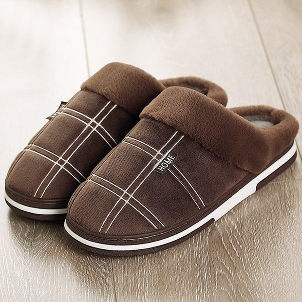 Home Men Slippers Winter Big Size 45-50 Gingham Warm Fur Slippers for male - uzamakianime