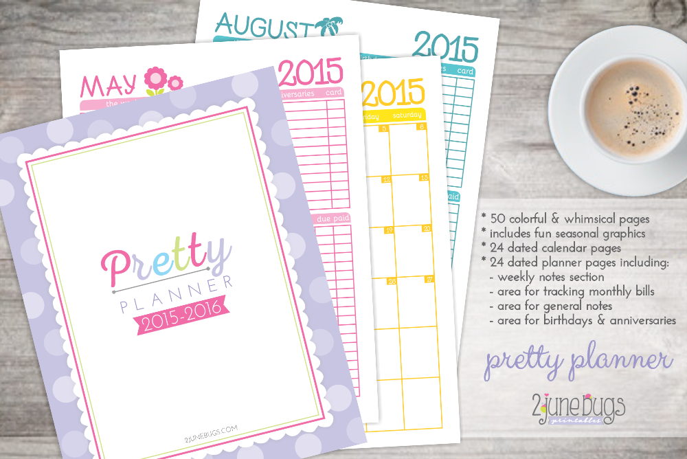 2 june bugs 2015-2015 Pretty Planner Freebie