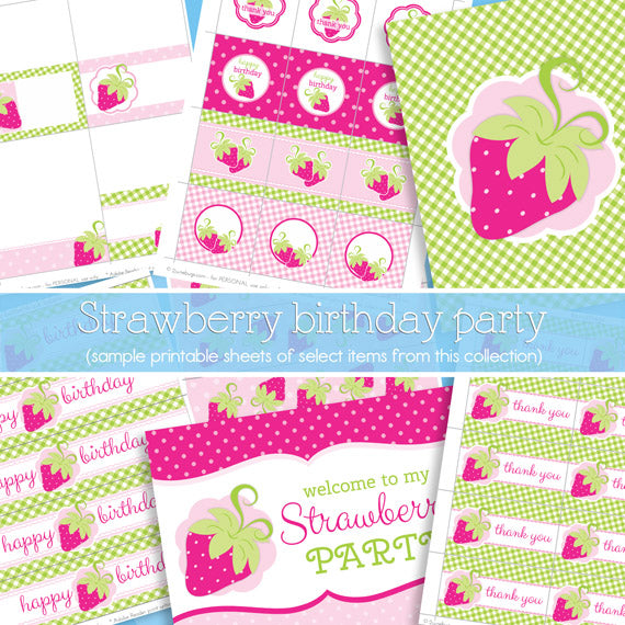 2 june bugs Strawberry Party Printables Package