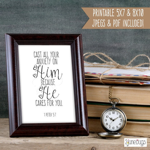 Bible Verse Art Printable - 1 Peter 5:7