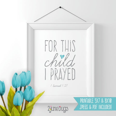 Bible Verse Art Printable - 1 Samuel 1:27 (Boy)