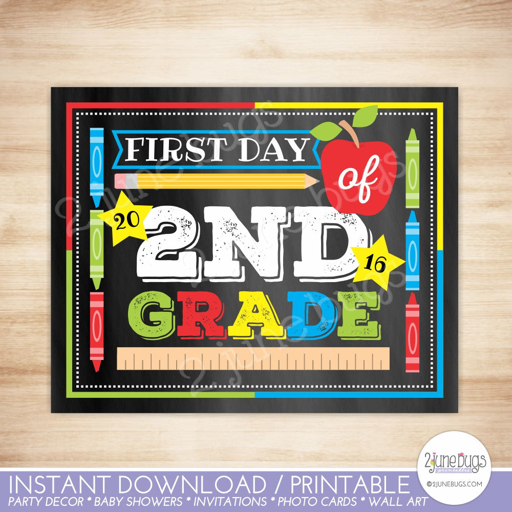 2 june bugs Printable First Day of 2nd Grade Sign