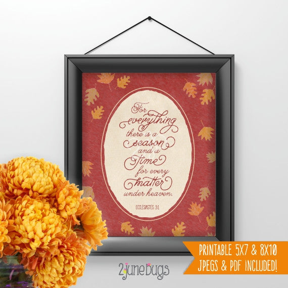 2 june bugs Fall themed Scripture Wall Art Printable - Ecclesiastes 3:1
