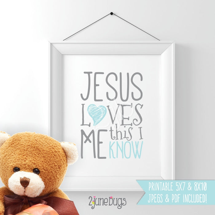 Printable Wall Art Nursery - Jesus Loves Me (baby boy)
