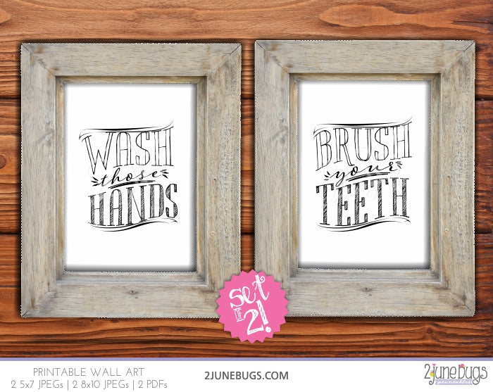 2 june bugs Printable Bathroom Wall Art Set - Brush those Teeth, Wash those Hands