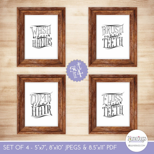 Printable wall art bathroom vintage set of 4 2 june bugs for Vintage bathroom printables