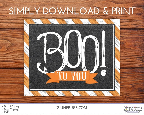 Halloween Wall Art Printable - Boo to you!
