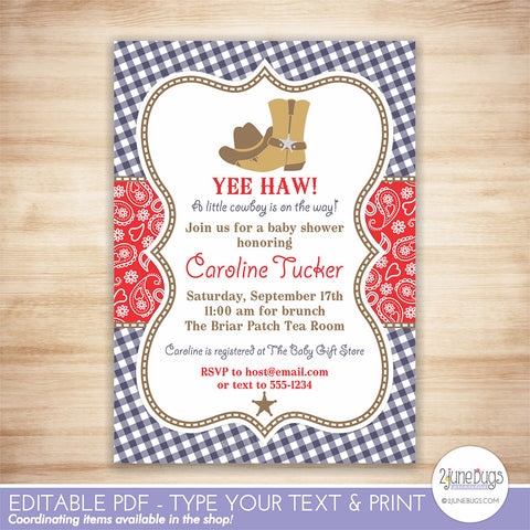 Cowboy Baby Shower Invitation (navy and red)