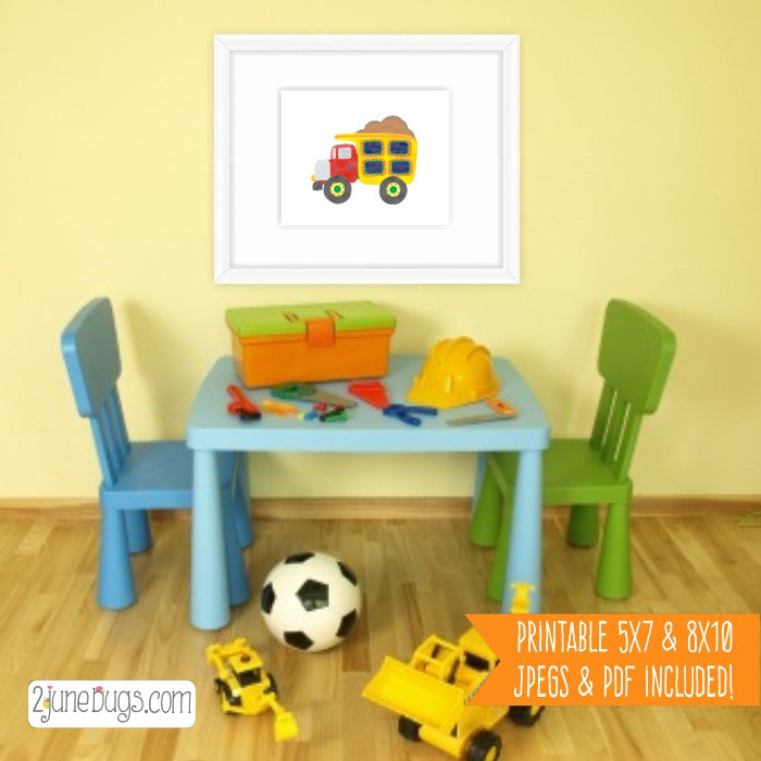 2 june bugs Printable Dump Truck Nursery Wall Art