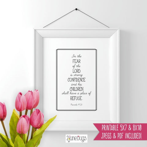Bible Verse Art Printable - Proverbs 14:26