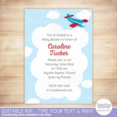 Airplane Baby Shower Invitation (red)