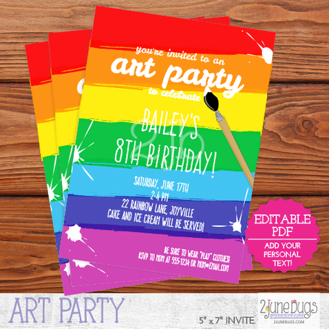 Printable Art Party / Paint Party Invitation
