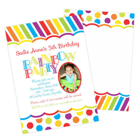 Birthday Photo Card Invitation -  Rainbow Party Dots and Stripes