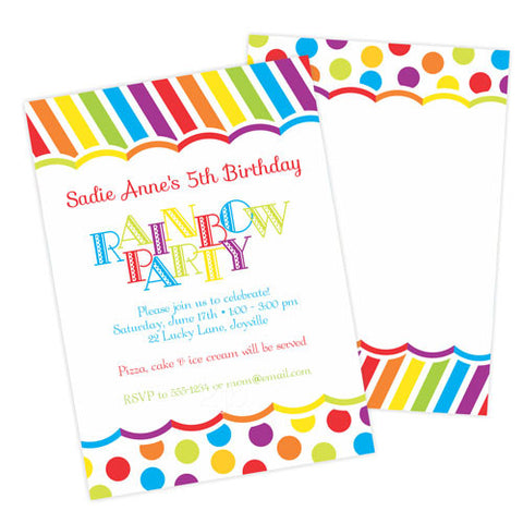 Birthday Invitation -  Rainbow Party Dots and Stripes